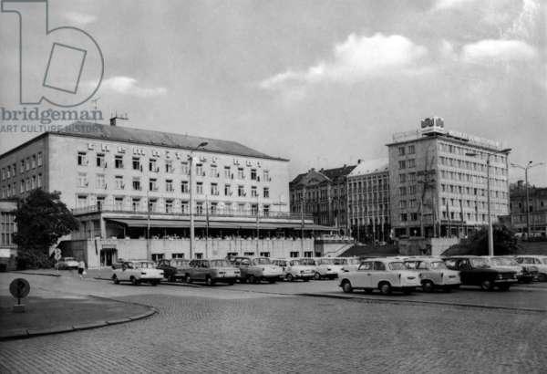 Karl-Marx-Stadt (now Chemnitz) in Saxony, Germany (GDR), march 1975: Chemnitzer Hof Hotel