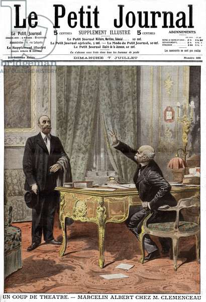 """Frontpage of french newspaper """"Le Petit Journal"""" july 7, 1907: Marcelin Albert, leader of winegrowers and Georges Clemenceau during wine crisis"""