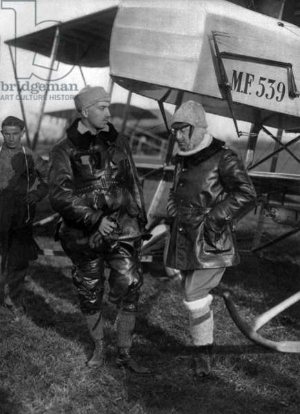Gabriele d'Annunzio, italian poet and aviator, with his pilot Ermanno Beltramo before their fly (Maurin Farman plane) over Trente in Italy on september 20, 1915