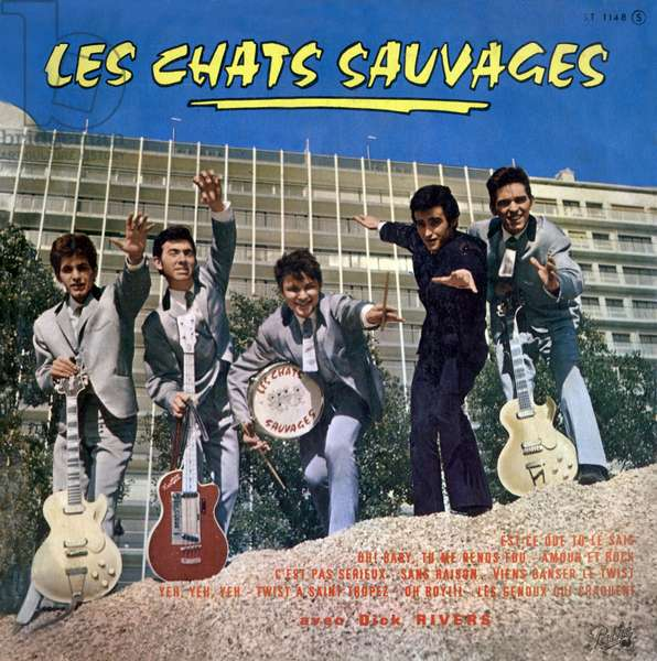 "Vinyl record sleeve of french singer (group) ""Les chats sauvages"" with Dick Rivers 1961"