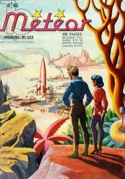 Cover of french magazine Meteor (august 1963) with science fiction cartoons