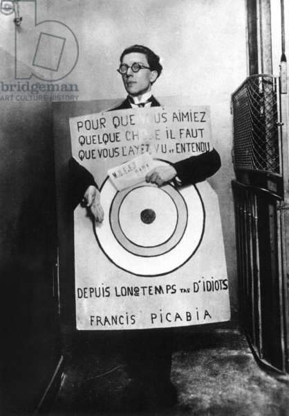 Andre Breton as target sandwich man (by Picabia) at Dada festival, Paris, march 27, 1920