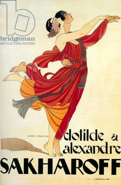 Poster by George Barbier for dancers Clotilde and Alexandre Sakharoff 1921