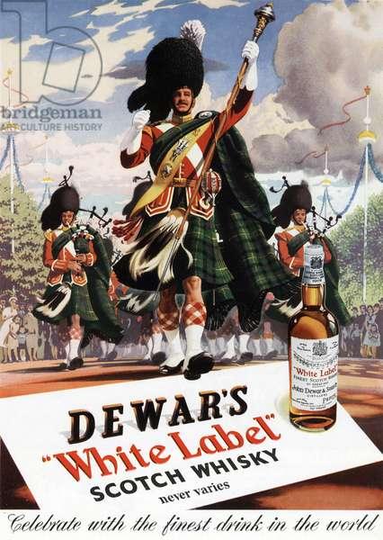 "Advertisement for scotch Whisky ""White Label"" John Dewar ans sons, june 1953"