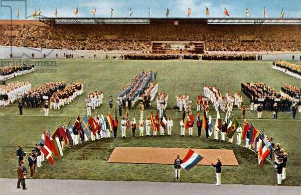 Olympic Games in Amsterdam, 1928: dutch footballer Harry Denis taking oath