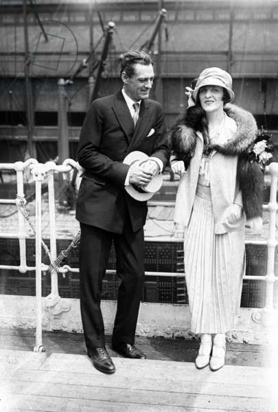Lionel Barrymore (1878-1954) american actor and director and his 2nd wife Irene Fenwick c. 1925