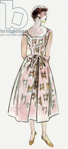 Dress by Hubert de Givenchy, 1952, drawing