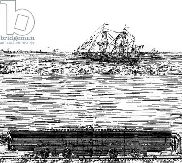 Project for tunnel under the Channel by Lacomme in 1869: submarine train, engraving