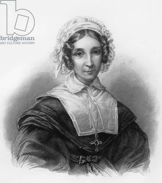 Mrs de Chateaubriand born Celeste Brisson (?-1847), wife of Francois Rene, she founded an infirmary in Paris, engraving