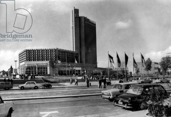 Karl-Marx-Stadt (now Chemnitz) in Saxony, Germany (GDR), march 1975: the Inter Hotel Congress and Stadthalle