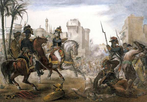 general Bonaparte, chief general of the french army in Egypt, putting down the Cairo uprising on october 21, 1798 at the time of the french occupation, Lithography
