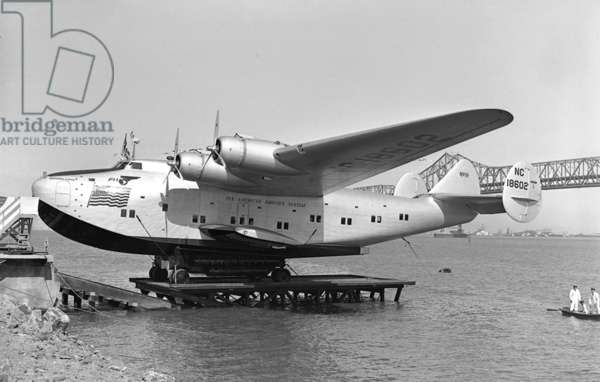 On april 25, 1939: christening of plane California Clipper (Boeing 314, seaplane) of Pan American Airways (Pan Am) in Treasure Island, photo by Art Green