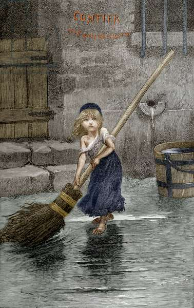 Cosette, illustration from 'Les Miserables' by Victor Hugo, 1862 (colour litho)