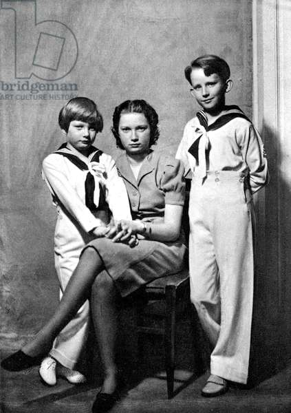 the children of LeopoldIII and princessAstrid: princess Josephine-Charlotte of Belgium (future Grand Duchess of Luxemburg) with her brothers Baudouin Duke of Brabant (future Baudouin 1st) and Albert Prince of Liege (future Albert II) c. 1943-1944