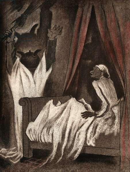 """Illustration for short story by Guy de Maupassant """"le Diable"""" (""""The Devil""""), 1938 (colour litho)"""
