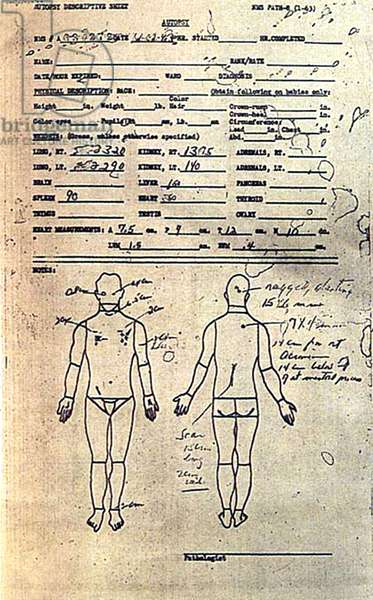 The description sheet for Kennedy's autopsy by Doctor Thorton J. Boswell at Bethesda naval hospital, after his assassination november 22, 1963