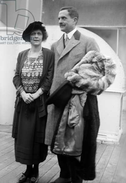 Waldorf Astor (1879-1952) 2nd viscount Astor, American-born British politician and newspaper proprietor, here with his wife Lady Nancy Astor (1879-1964) aboard a liner c. 1925