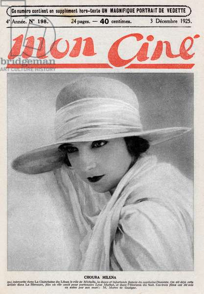 """Cover of french paper """"Mon cine"""" december 3, 1925: actress Choura Milena"""
