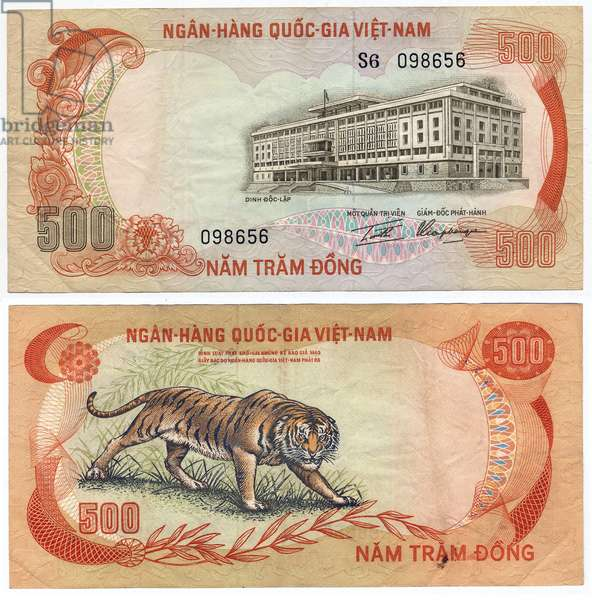 Banknote, 500 Dong, South Vietnam, 1972 (recto: independence palace in Ho-Chi-Minh-City and verso: tigers)