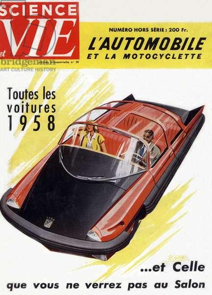 Futurist Car, Front Cover of 'Science et Vie', 1958 (colour litho)