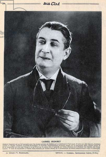 "French magazine ""Mon Cine"" october 22, 1925: french actor Gabriel Signoret (1878-1937)"
