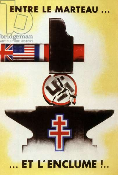 Propaganda poster affixed by Americans after landing: Nazi swastika is crushed between hammer of Allied and anvil of French resistance, 1944 (colour litho)`