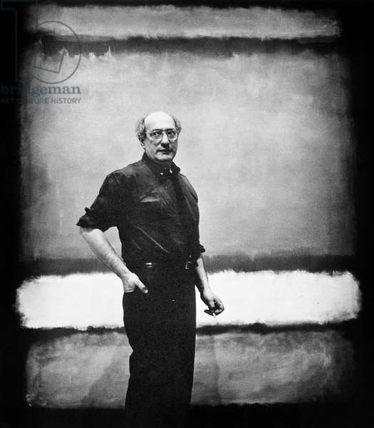 Mark Rothko in front of one of his monumental canvases, 1961 (b/w photo)
