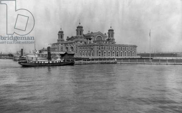 Ellis Island, New York, looking across water toward immigration station c. 1913