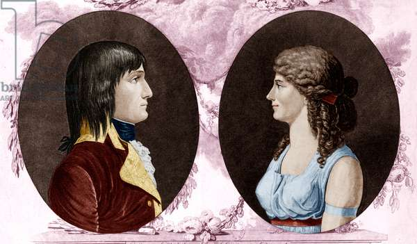 Napoleon 1st (1769-1821) french emperor and his first wife empress Josephine (Josephine de Beauharnais) 1796, engraving colourized document