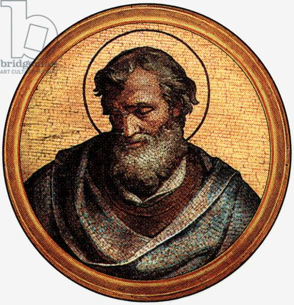 Anicetus, pope in 155-156, after a medalion of the Basilica of Saint Paul Outside the Walls (-Rome)