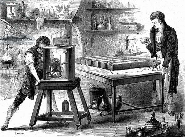 Humphry Davy (1778-1829) english physicist and chemist, here working on alkalis, engraving, 1899