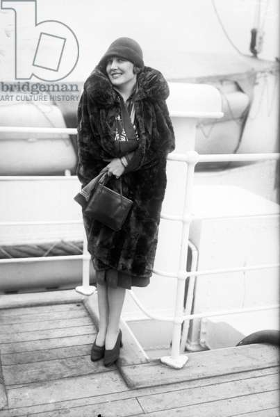 Edna Purviance (1895-1958) american actress on a liner c. 1920