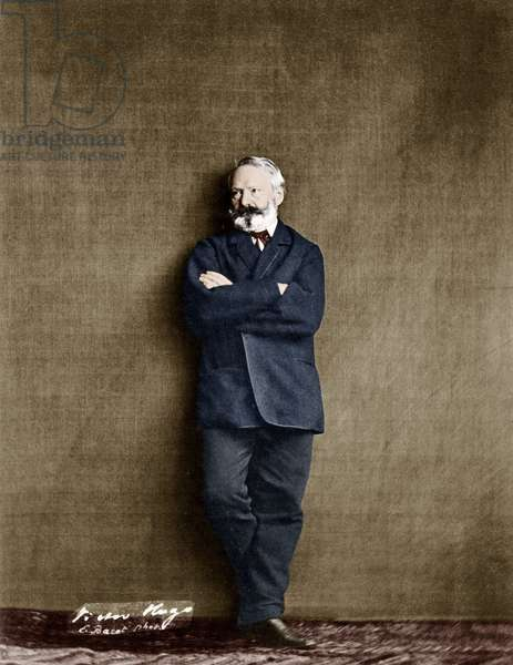 french writer Victor Hugo (1802-1885) here in 1862, photo by Edmond Bacot colourized document