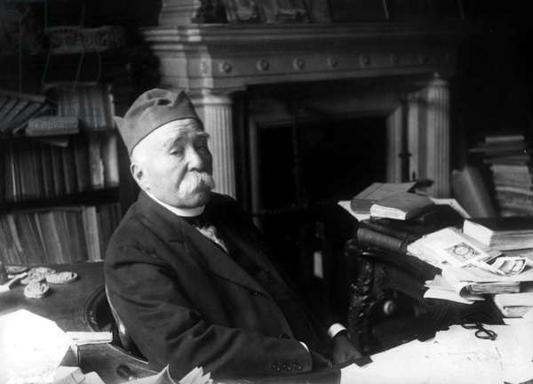Georges Clemenceau (1841-1929) french politician Third Republic, here in his office c. 1920