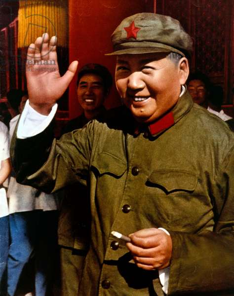Mao Zedong (1893-1976) leader of chinese communist party, president of Popular China 1949-1959 and 1968-1976, here here during review of army of The Great Proletarian Cultural Revolution in Pekin on august 18, 1966