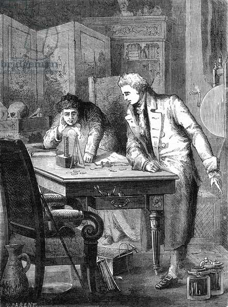 William Nicholson (1753-1815) and Anthony Carlisle (1768-1840) in London breaking down water with battery by Volta may 2, 1800, engraving