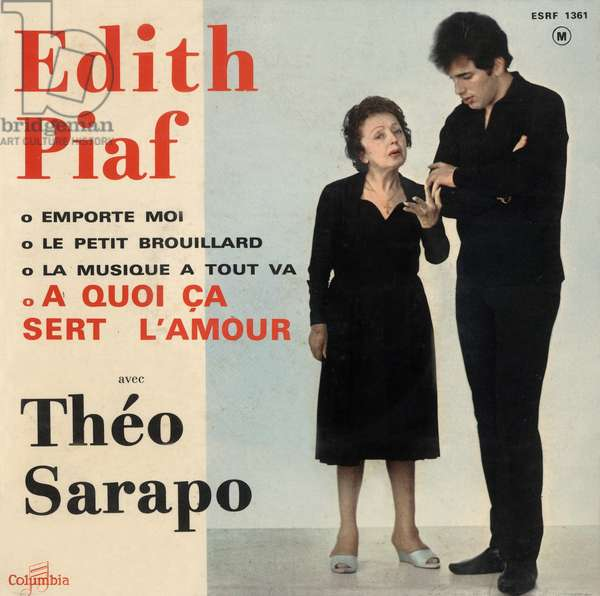 """Extended play vinyl record sleeve of Edith Piaf and Theo Sarapo """"A quoi ca sert l'amour"""" 1962"""
