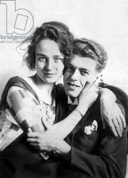 The Painter Rene Magritte and his wife Georgette Berger, c.1922 (b/w photo)