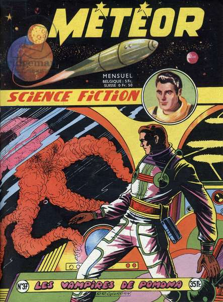 Cover of french magazine Meteor (june 1956) with science fiction cartoons