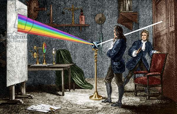 Isaac Newton (1642-1727) english mathematician, physicist and astronomer, author of the theory of terrestrial universal attraction, here dispersing light with a glass prism, engraving colourized document