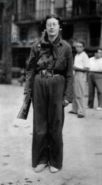 Simone Weil (1909-1943) french philosopher, here in 1936 during spanish civil war when she was in the Durruti Column