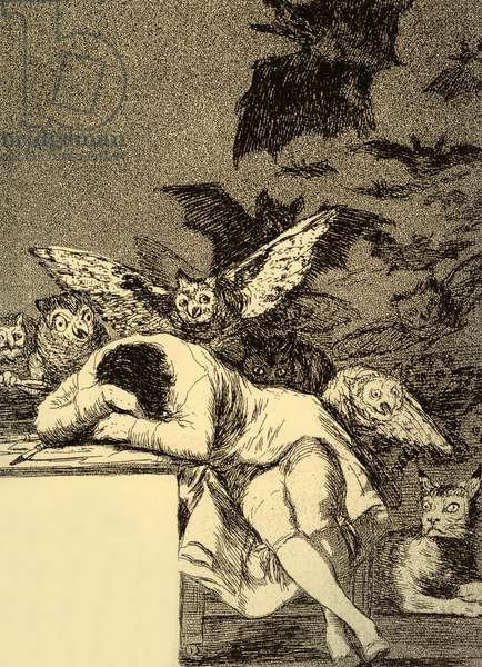 The sleep of reason produces monsters (Caprice 43), engraving by Francisco Goya, 1797-1798