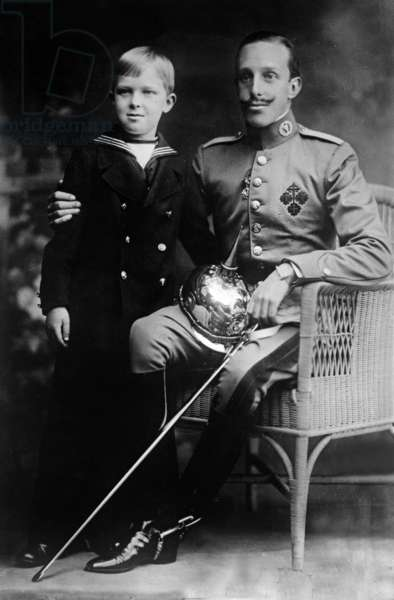 Don Alfonso XIII (1886-1941) king of Spain in 1886-1931 and son Alfonso, Prince of Asturias (1907-1938) c. 1915