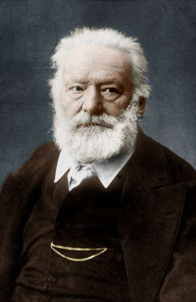 Victor Hugo (1802-1885) french poet and novelist, here c. 1884 colourized document