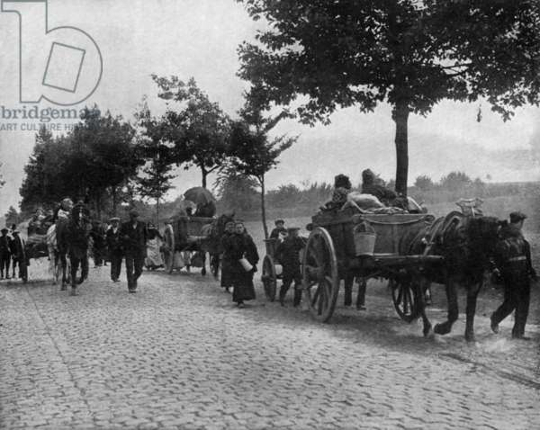 At time of invasion of Belgium by german army, october 1914: exodus of belgian population