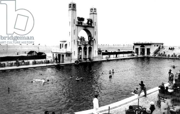 seawater swimming pool and the springboard on the beach in Le Touquet , north of France, in 1925