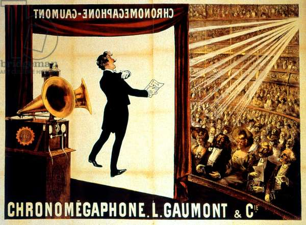 The Chronomegaphone used for amplification of the sounds for projections in the cinema, invented by Louis Gaumont in 1908
