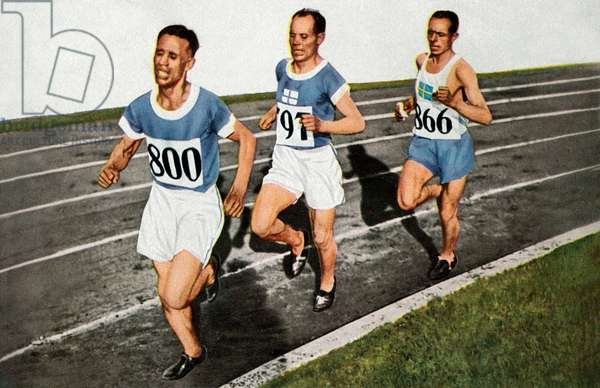 Olympic Games in 1928 in Amstardam: 10000m race: finnish athlets Ville Ritola, Paavo Nurmi and swedish Edvin Wide