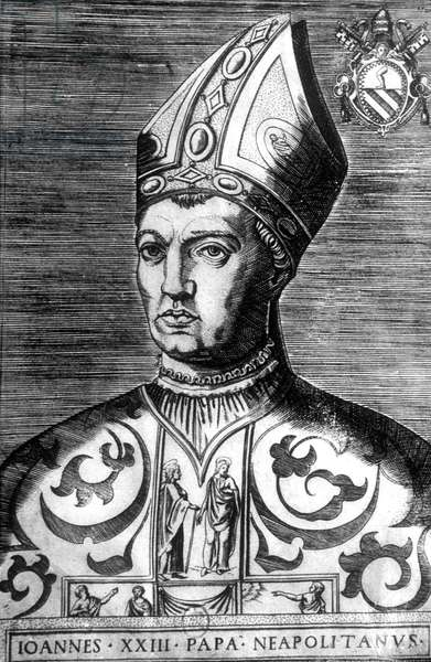 John XXIII (1370-1419) pope elected by Pise council in 1410 under name of John XXIII, deposed in 1415, he was an antipope, engraving