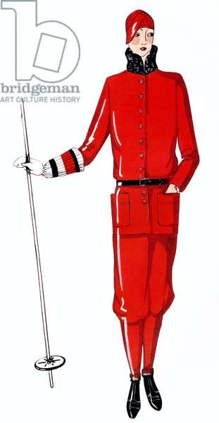Winter sports red wool suit designed by Jeanne Lanvin 1928